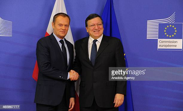 Polish Prime Minister Donald Tusk is welcomed by EU Commission President Jose Manuel Barroso prior to a meeting at EU Commission heaquarters in...