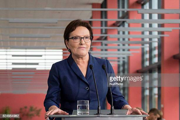 Polish Prime Minister Ewa Kopacz during the press conference after Council of Ministers meeting on October 06, 2015 in Bydgoszcz, Poland.