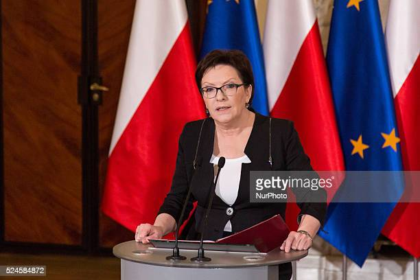 Polish Prime Minister Ewa Kopacz makes a statement about Polish representing at Valletta Summit on Migration on November 06, 2015 in Warsaw, Poland.