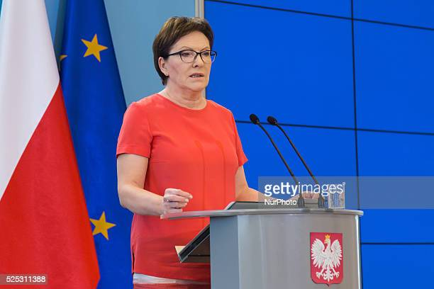 Polish Prime Minister Ewa Kopacz press conference about drought and electricity crisis in Poland after meeting with Crisis Management Team in...