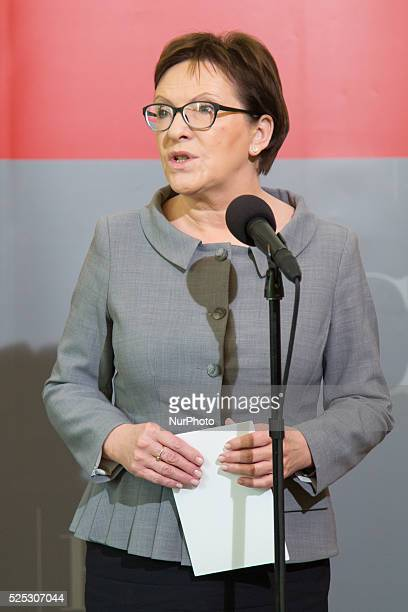 Polish Prime Minister Ewa Kopacz press conference after meeting in Crisis Management Centre about destructions after storms raged across parts of...
