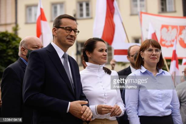 Polish Prime Minister, Mateusz Morawiecki and the Belarus opposition leader Sviatlana Tsikhanouskaya leave after holding a meeting in Warsaw, Poland...
