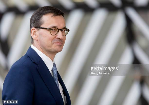 Polish Prime Minister Mateusz Morawiecki arrives for the European Union summit at the Europa, the EU Council headquarters on May 28, 2019 in...
