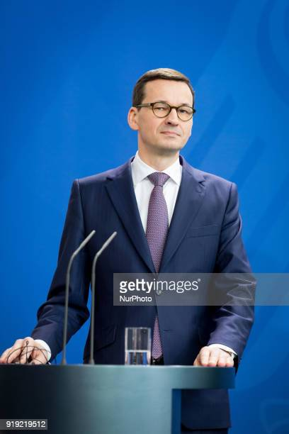 Polish Prime Minister Mateusz Morawiecki during a news conference with German Chancellor Angela Merkel following their meeting in Federal Chancellery...