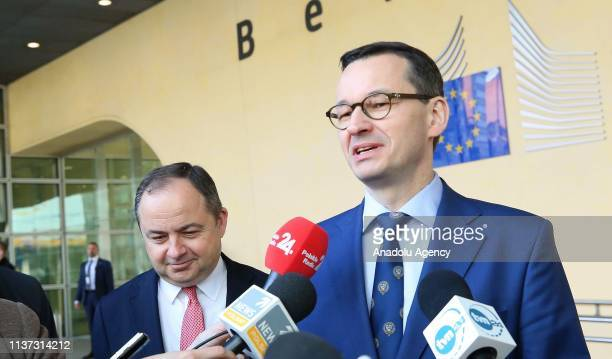 Polish Prime Minister Mateusz Morawiecki holds a press conference after attending signing ceremony of granting agreement for Baltic Pipe Project...