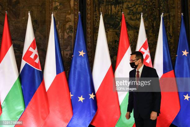Polish Prime Minister Mateusz Morawiecki seen during the official start of the 30th anniversary of the V4 Summit. Summit of Heads of Government of...