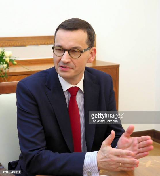 Polish Prime Minister Mateusz Morawiecki speaks during the Asahi Shimbun interview on January 10, 2020 in Warsaw, Poland.
