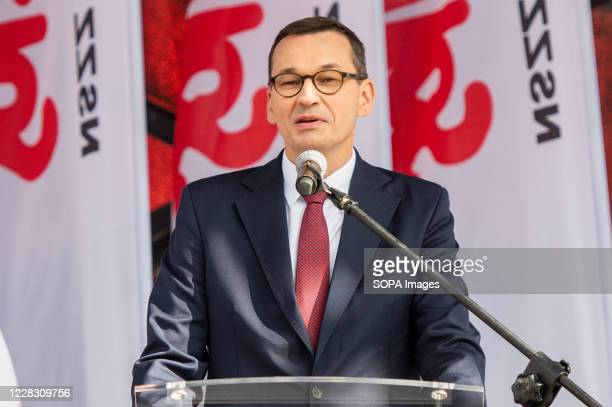 Polish Prime Minister Mateusz Morawiecki speaks to the crowd during the Anniversary of August Agreements. The 40th anniversary of the August...