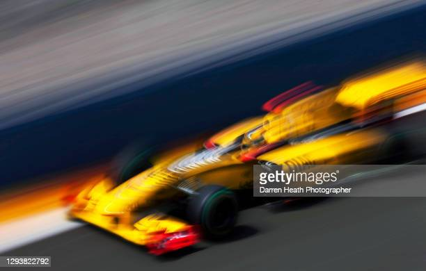 Polish Renault Formula One driver Robert Kubica driving his Renault R30 racing car during practice for the 2010 European Grand Prix, Valencia Street...
