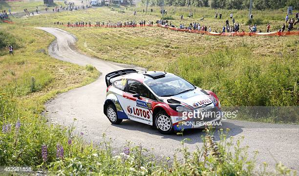 Polish Robert Kubica with Ford Fiesta takes a corner during shakedown of FIA World Rally Championship WRC Neste Oil Rally Finland in Jyvaskyla...