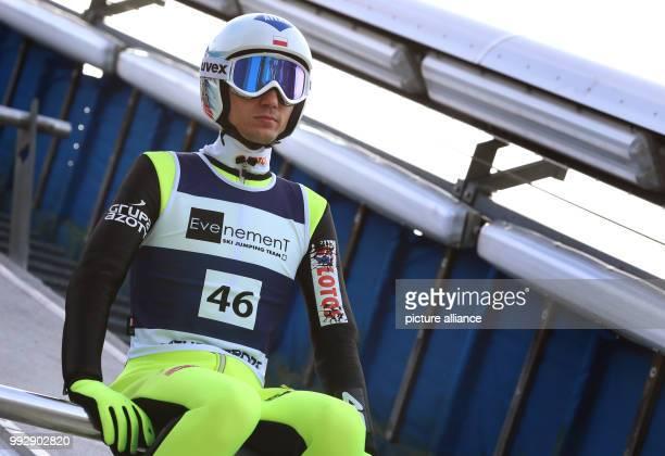 Polish ski jumper Kamil Stoch prepares for his jump at the Erdinger Arena in Oberstdorf Gemrany 26 October 2017 Photo KarlJosef Hildenbrand/dpa