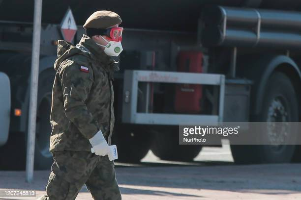 Polish soldier stands at the border Kudowa Zdoj-Czech Republic on March 15, 2020. The Frontier is closed of Kudowa Zdoj-Czech Republic. Forbidden...