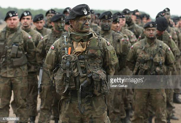 Polish soldiers participate in the NATO Noble Jump military exercises of the VJTF forces on June 18 2015 in Zagan Poland The VJTF the Very High...