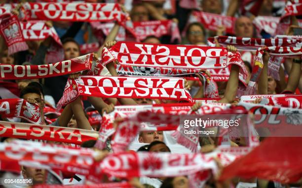 Polish supporters during the 2018 FIFA World Cup Russia eliminations match between Poland and Romania on June 10 2017 at the National Stadium in...