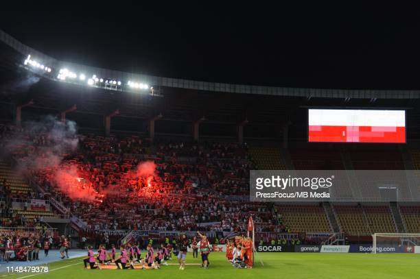 Polish supporters during the 2020 UEFA European Championships group G qualifying match between North Macedonia and Poland at Philip II Arena on June...