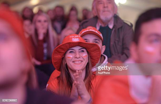 Polish supporters pictured at Krakow small square at the supporter zone area the Poland vs Macedonia handball second qualification stage match in...