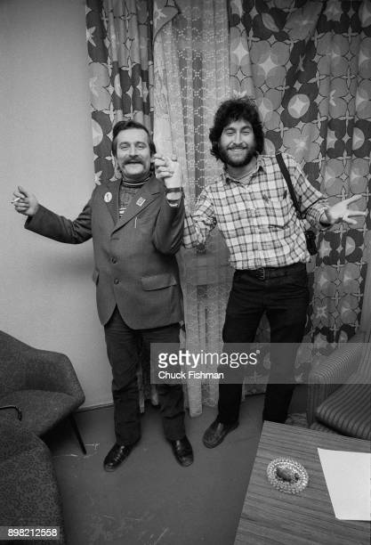 Polish tradeunionist Lech Walesa holds hands and jokes with American photographer Chuck Fishman in Walesa's office at Solidarity headquarters Gdansk...