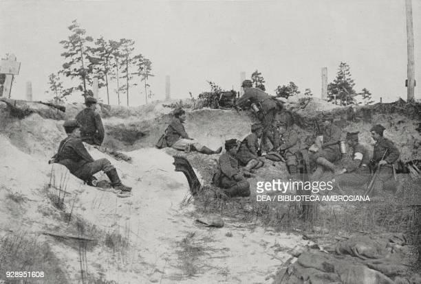 Polish troops of the Posnania regiment attacking Kiev Ukraine SovietPolish War photo by E Paolucci from L'Illustrazione Italiana Year XVLII No 29...