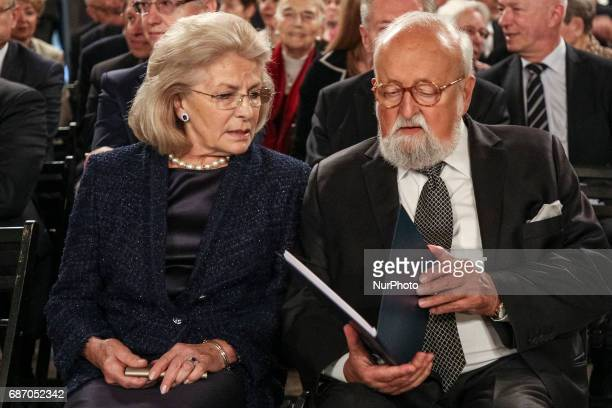 A Polish world famous composer and conductor Krzysztof Penderecki and his wife Elzbieta Penderecka during award ceremony at the Wawel Castle in...