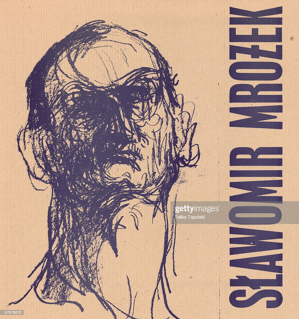 Polish writer and dramatist Slawomir Mrozek. A sketch by Polish-born British expressionist Feliks Topolski from Topolski's Chronicle Nos 9-12 Vol XIII, 1965.