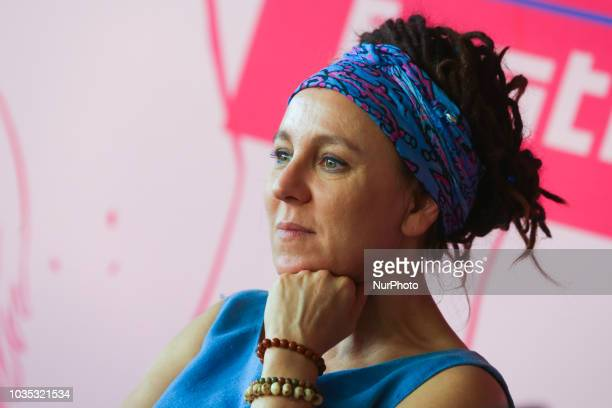 Polish writer Olga Tokarczuk attends a meeting during Sacrum Profanum festival in Krakow Poland on 17 September 2018