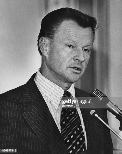PolishAmerican diplomat Zbigniew Brzezinski National Security Adviser to President Jimmy Carter addresses the annual convention of the American...
