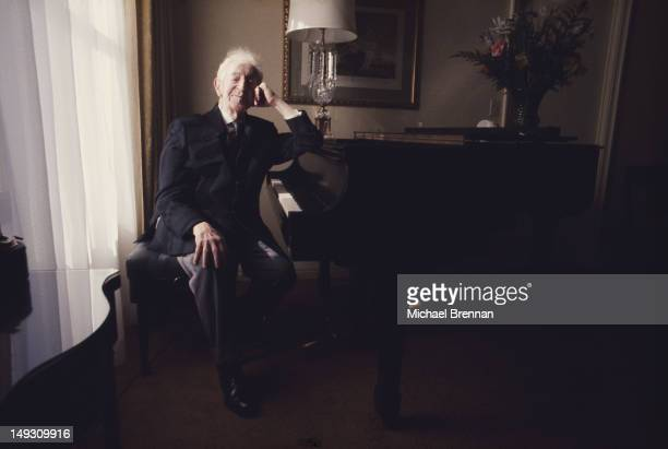 PolishAmerican pianist Arthur Rubinstein celebrates in 90th birthday in his suite at The Pierre hotel New York City 28th January 1977