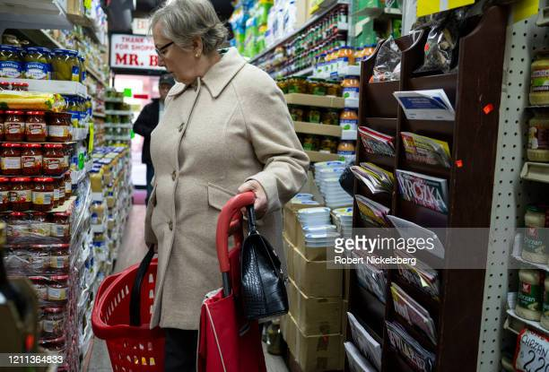 PolishAmerican woman looks for Polish food items in a shop in the Greenpoint neighborhood of Brooklyn New York on March 8 2020