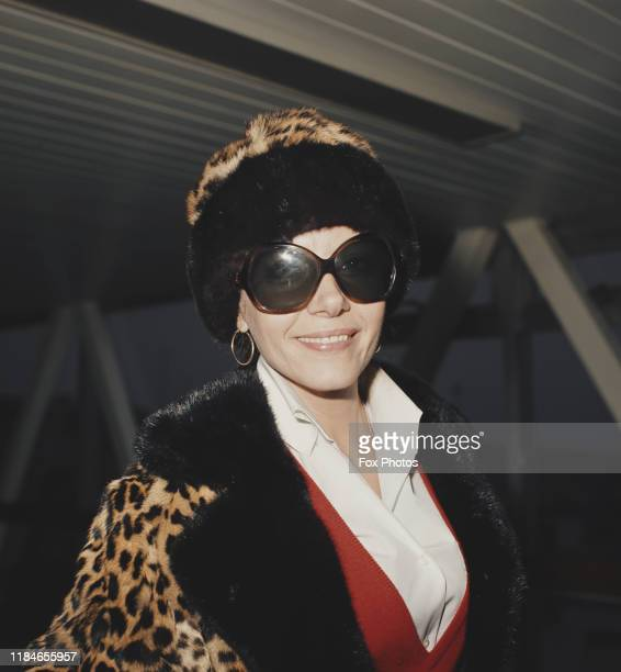 PolishBritish actress Ingrid Pitt wearing a leopard coat at London Airport England November 1973