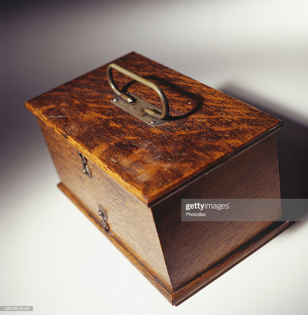 Polished Antique Wooden Oak Box With Brass Handle Stock Photo