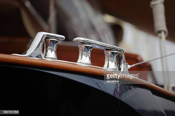 polished fairlead on yacht - luxury yacht stock pictures, royalty-free photos & images