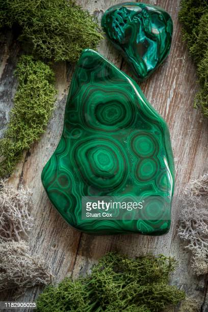 polished malachite surrounded by dried moss on a rustic wooden background - 孔雀石 ストックフォトと画像