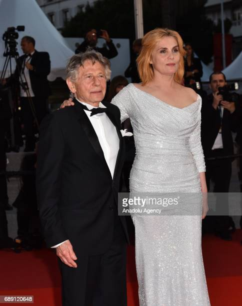 PolishFrench actor Roman Polanski and French actress Emmanuelle Seigner leave the screening of the film D'apres Une Histoire Vraie out of competition...