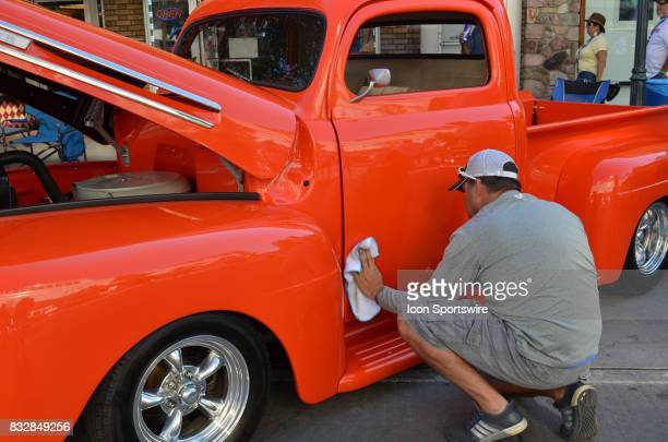 Polishing and cleaning the exterior is a continuous task for the owner of the 1951 Ford pickup at the Hot August Nights Custom Car Show the largest...