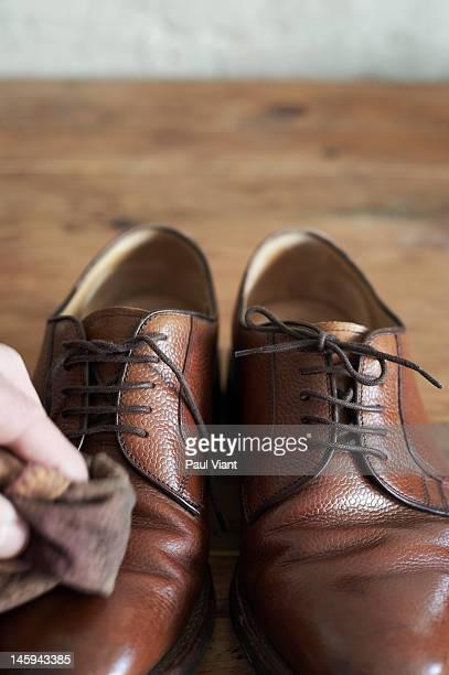 polishing man shoe