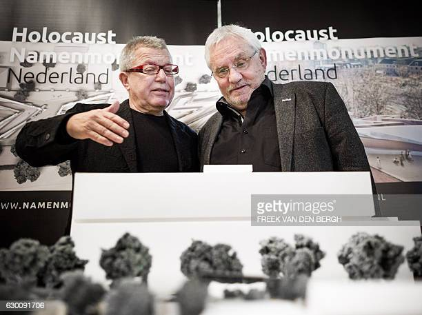 PolishUS architect and artist Daniel Libeskind speaks to the chairperson of the Dutch Auschwitz Committee Jacques Grishaver during the presentation...