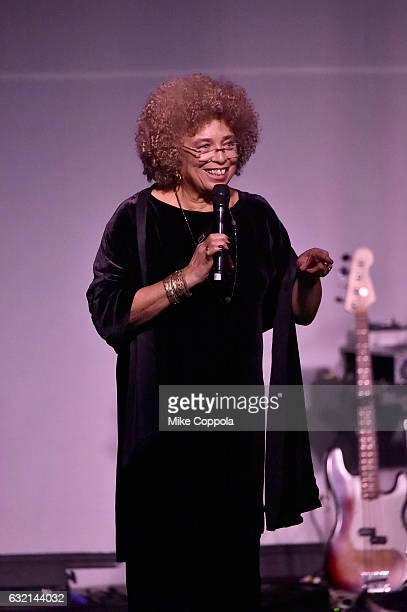 Politcal Activist Angela Davis speaks onstage at the Busboys and Poets' Peace Ball Voices of Hope and Resistance at National Museum Of African...