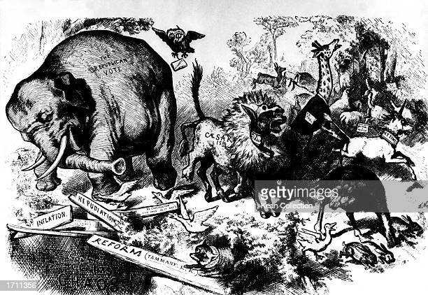 A politcal cartoon by Thomas Nast including the first use of the elephant to sybolize the Republican party 1874 Members of the press are symbolized...