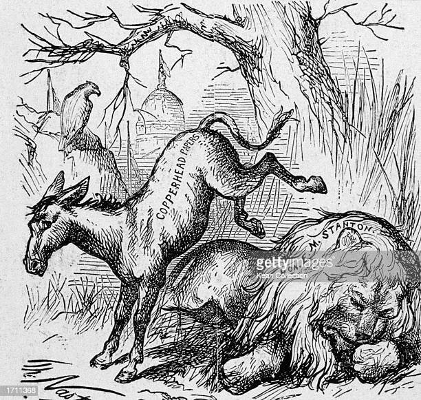 A politcal cartoon by Thomas Nast titled 'Live Jackass Kicking a Dead One' satirizing the Democrats abuse of Secretary of War Stanton after his death...