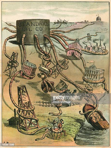 A politcal cartoon entitled 'The Monster Monopoly' comments on the Standard Oil Comapany circa 1884 The company is depicted as an octopus crushing...
