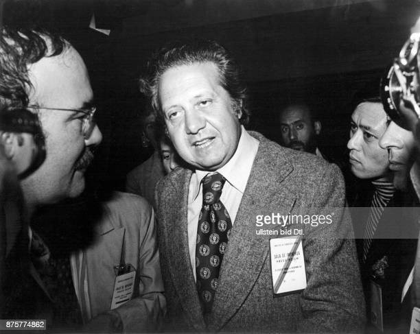 Politcian Mario Soares Partido Socialista Foreign secretary of Portugal during a visit in South America no further information