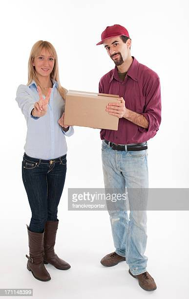 Polite Delivery Man Tips Hat  and beautiful housewife