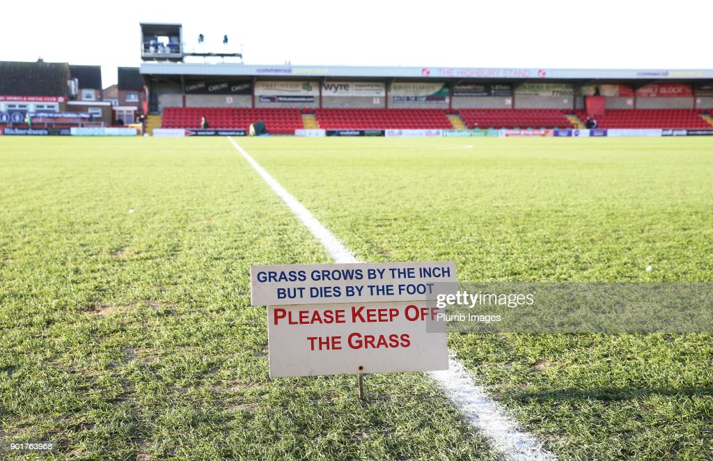 A polite notice at Highbury Stadium ahead of the The Emirates FA Cup Third Round tie between Fleetwood Town and Leicester City at Highbury Stadium, on January 6th, 2018 in Fleetwood, United Kingdom