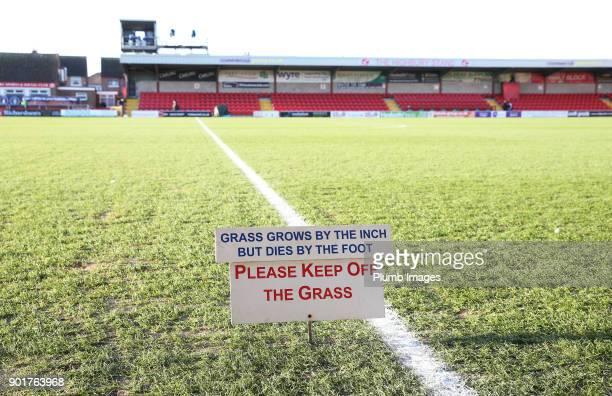 Polite notice at Highbury Stadium ahead of the The Emirates FA Cup Third Round tie between Fleetwood Town and Leicester City at Highbury Stadium, on...