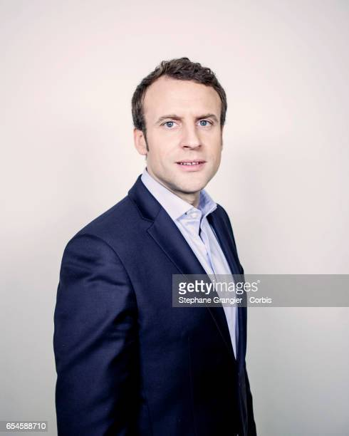 Politic Emmanuel Macron poses during a photoshoot on March 04 2017 in Paris France