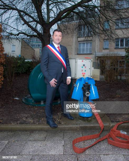 Politic mayor Karl Olive poses during a photoshoot on March 08 2018 in Poissy France