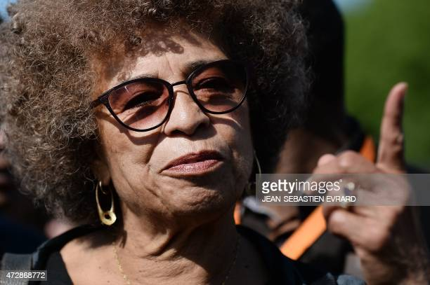 US political activist Angela Davis attends a ceremony to commemorate the abolition of slavery on May 10 2015 in Nantes western France The city of...