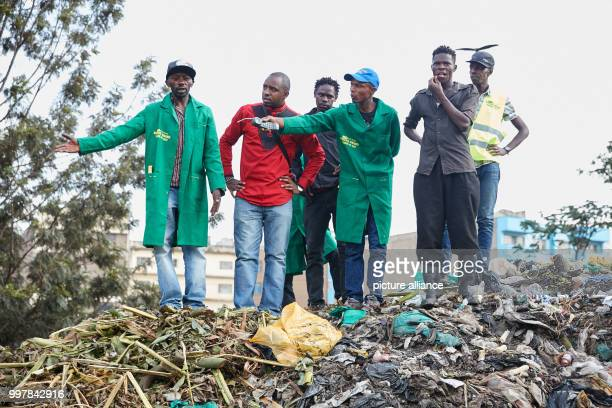 Political activist Boniface Mwangi  visits a waste dump in Nairobi Kenya 21 June 2017 The son of a street hawker hopes to win a seat in the new...