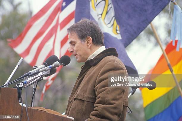 Political activist Carl Sagan speaking at rally Washington DC