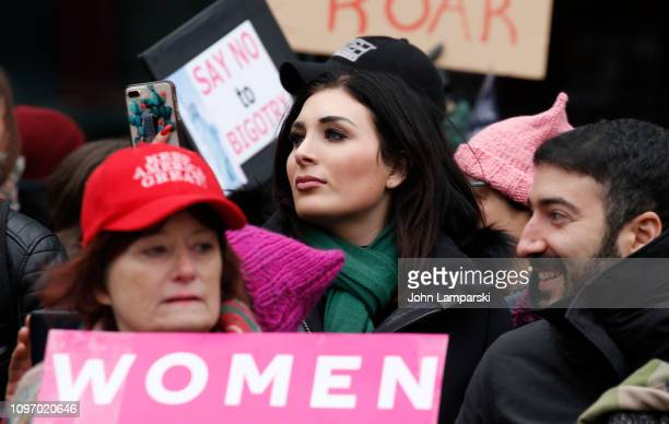 Political activist Laura Loomer stands across from the Women's March 2019 in New York City on January 19 2019 in New York City